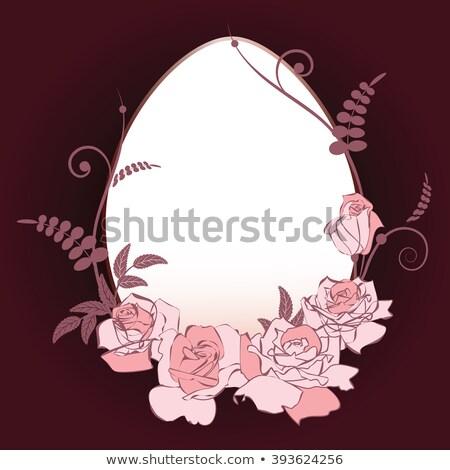 Photo stock: œufs · de · Pâques · Rose · Red · fleur · printemps · design · fond