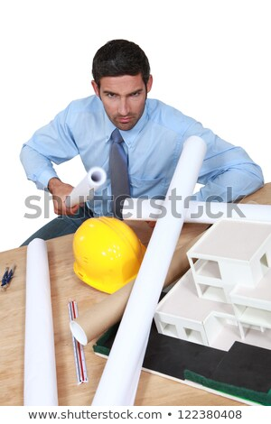Angry architect sat at his desk Stock photo © photography33