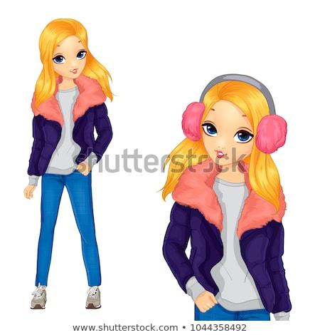 Szépség lány szőr fiatal tinédzser stúdió Stock fotó © DNF-Style