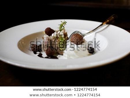 Csokoládé hab krém közelkép fénykép csésze étel Stock fotó © mpessaris
