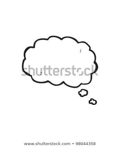 Feliz desenho animado nuvem balão de pensamento mão cara Foto stock © lineartestpilot