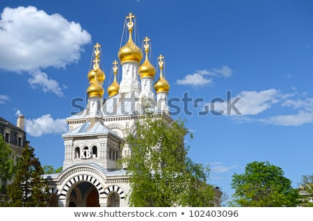 russian or orthodox church geneva switzerland stock photo © elenarts