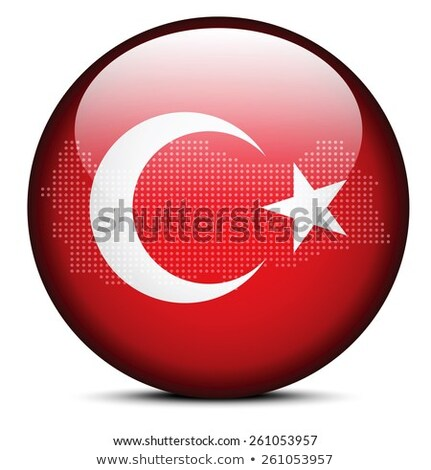 Map with Dot Pattern on flag button of Republic Turkey Stock photo © Istanbul2009