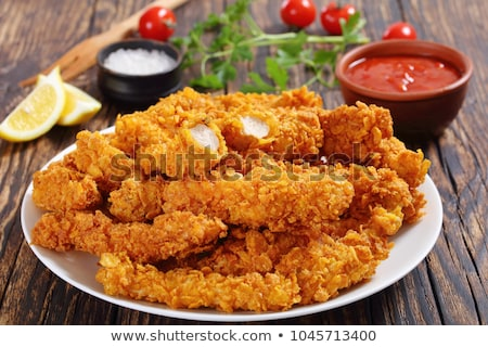 Ropogós tyúk étel fa asztal étterem hús Stock fotó © mady70