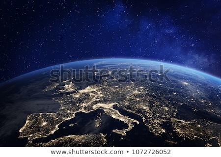 Восход планете Земля пространстве мнение закат морем Сток-фото © sdecoret