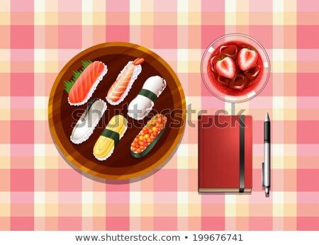 A table with sushi, a cocktail drink, a ballpen and a notebook Stock photo © bluering