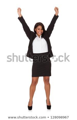 Fekete üzletasszony karok a magasban portré üzletasszony mosolyog Stock fotó © szefei