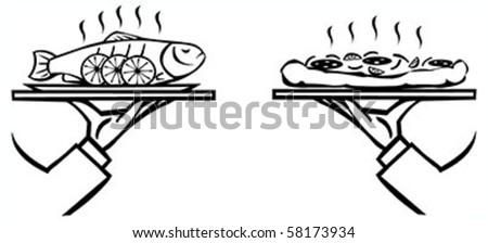 ウェイター メイン 皿 黒白 スケッチ ストックフォト © derocz