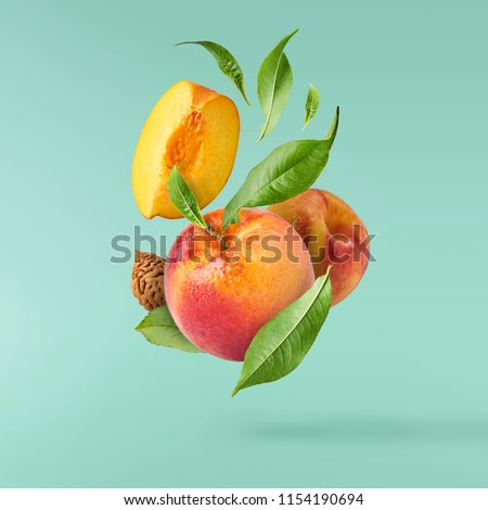 Fresco pêssegos folha comida fundo agricultura Foto stock © M-studio