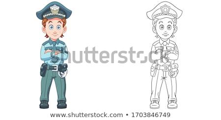 Karikatür gülen polis memuru adam Stok fotoğraf © cthoman