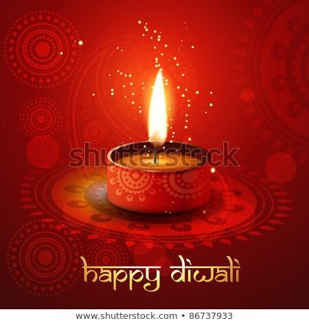 élégant heureux diwali rouge design lampe Photo stock © SArts