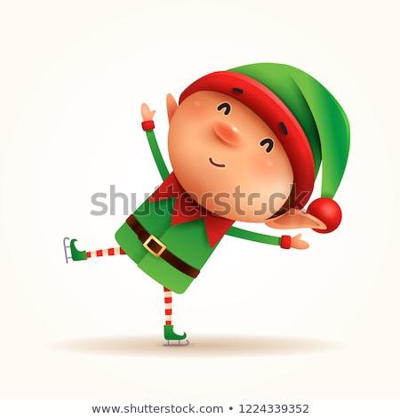 Kicsi manó korcsolya izolált jókedv gyerek Stock fotó © ori-artiste