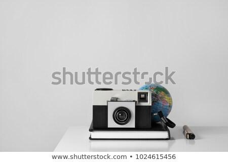 old film camera, notepad, pen and globe Stock photo © nito