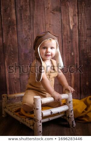Porträt Junge stehen Holz Wiege Hand Stock foto © Lopolo