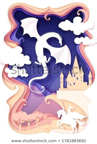 Jelenet lovag kék sárkány illusztráció tájkép Stock fotó © colematt