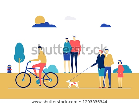 Couple cycling - flat design style colorful illustration Stock photo © Decorwithme