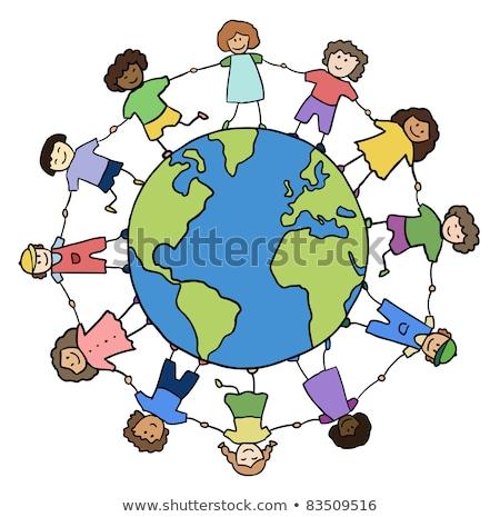Many children playing around the earth stock photo © colematt