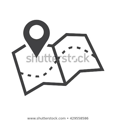 Navigasyon harita ikon şablon mavi sarı Stok fotoğraf © angelp
