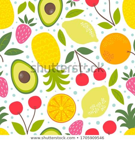 коллекция · Cartoon · фрукты · Ягоды · изолированный · белый - Сток-фото © margolana
