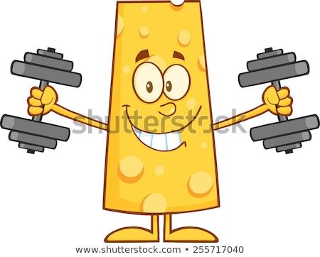 Gülen peynir eğitim dambıl yalıtılmış Stok fotoğraf © hittoon