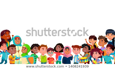 group of mulicultural smiling children vector stock photo © pikepicture
