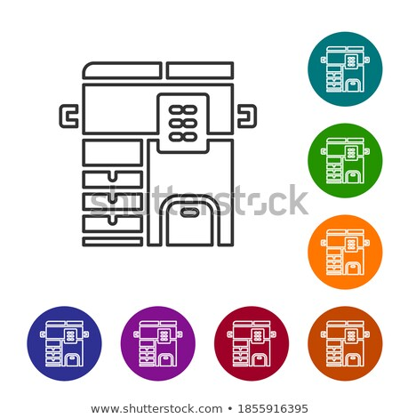 Fax Round Linear Icon with Machine and Document Stock photo © robuart