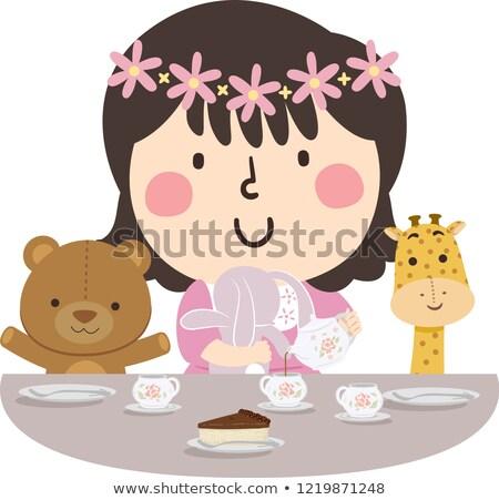 Kid Girl Tea Time Stuff Toys Illustration Stock photo © lenm
