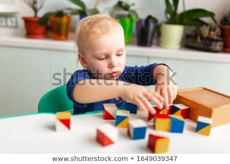 Kid Boy Preschool Pattern Block Activity Foto d'archivio © Len44ik