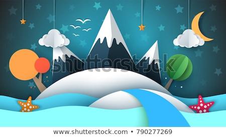 Stockfoto: Berg · papier · illustratie · Rood · zon · wolk