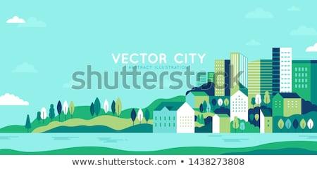 городского пейзаж иллюстрация стиль баннер дизайна Сток-фото © shai_halud