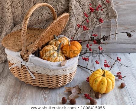 Rústico cesta mini laranja abóboras ação de graças Foto stock © sarahdoow