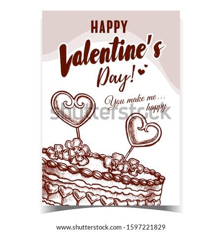 Torta díszített szívek virágok poszter vektor Stock fotó © pikepicture