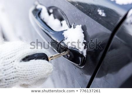 Férfi nyitva fagyott autó ajtó távoli Stock fotó © AndreyPopov
