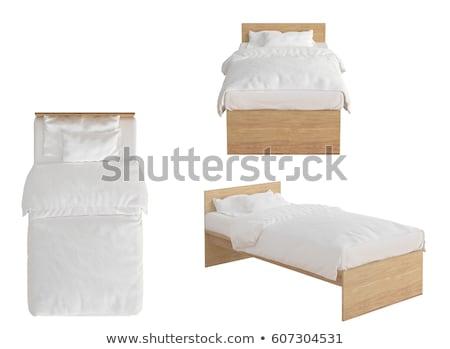 Kényelem ágy fehér felső kilátás bútor Stock fotó © magraphics