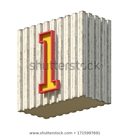 Vintage beton Rood Geel aantal 3D Stockfoto © djmilic