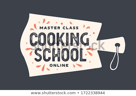 Kitchen cutting board. Logo for Cooking courses Stock photo © FoxysGraphic