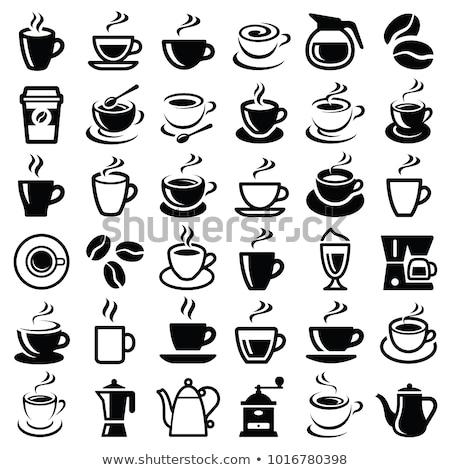 Espresso tasse de café café pot fèves sucre Photo stock © Melnyk