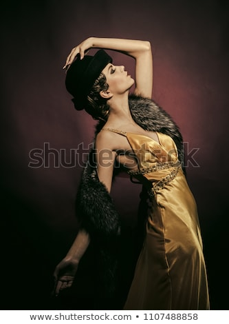 Kabaré hölgy szexi fekete fehérnemű dohányzás tánc Stock fotó © adamr