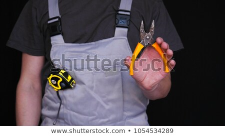 man holding Pliers isolated on white Stock photo © shutswis