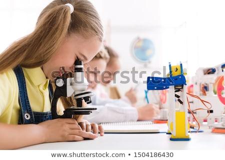 Gyerekek laboratórium gyermek narancs üveg piros Stock fotó © photography33