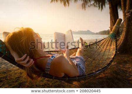 vrouw · hangmat · zee · haren · zomer - stockfoto © photography33