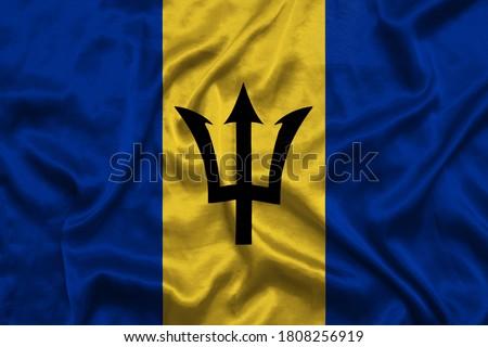 kumaş · doku · bayrak · Barbados · mavi · yay - stok fotoğraf © maxmitzu