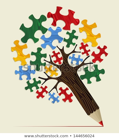 back to school on green puzzle pieces stock photo © tashatuvango