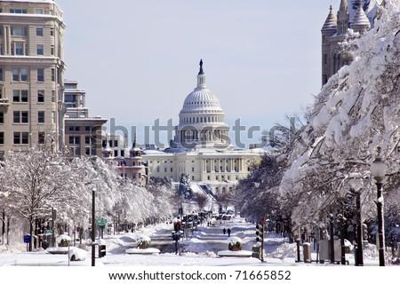 Washington · Monument · neve · Washington · DC · árvores · edifício - foto stock © billperry