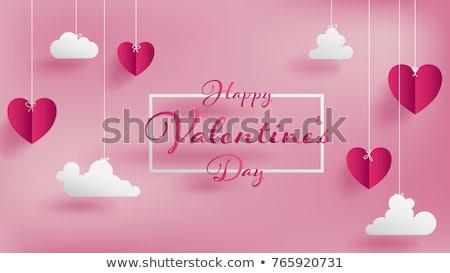 valentin · nap · papír · szívek · üdvözlőlap · vektor · boldog - stock fotó © burakowski