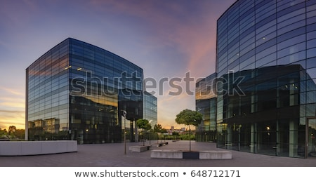 facade of office building by night stock photo © meinzahn