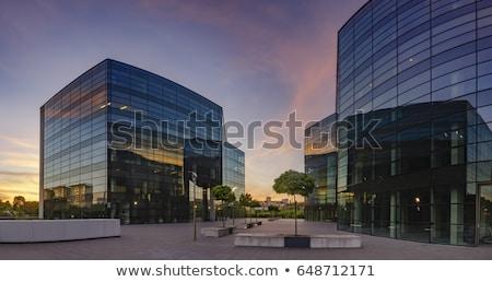 moderno · tijolo · prédio · comercial · canto · blue · sky · céu - foto stock © meinzahn