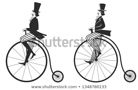 classique · vintage · noir · vélo · mur - photo stock © antonihalim
