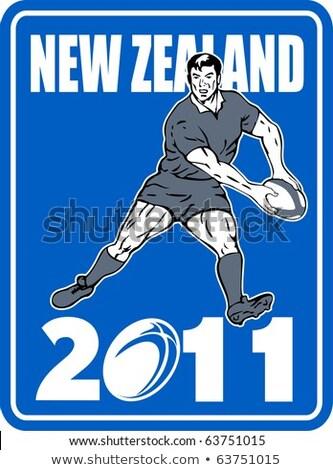 Rugby gracz Nowa Zelandia 2011 ilustracja ikona Zdjęcia stock © patrimonio