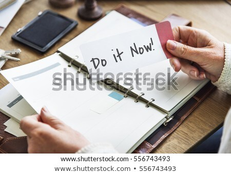 notebook on a desk   start now stock photo © zerbor